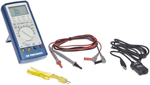 BK Precision 390A Auto-Ranging, Average-Sensing Digital Multimeter with USB Data Connection and Temperature Probe, 20 Amp, 750VAC, 1000VDC, 40 Megaohms, 40 Millifarads, 40 MHz, -50 to 1300 Degrees C