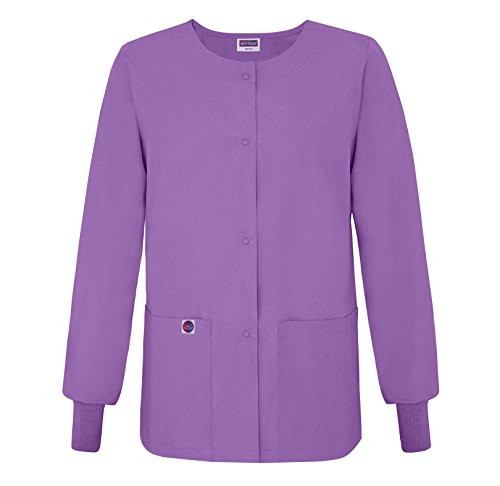 Sivvan Womens Scrub Warm-Up Jacket/Front Snaps - Round Neck - S8306 - Lavender - 2X