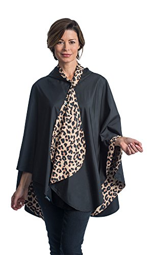 RainCaper Rain Poncho For Women - Reversible Waterproof Hooded Cape In Gorgeous Ultrasoft Colors (Black & Leopard)