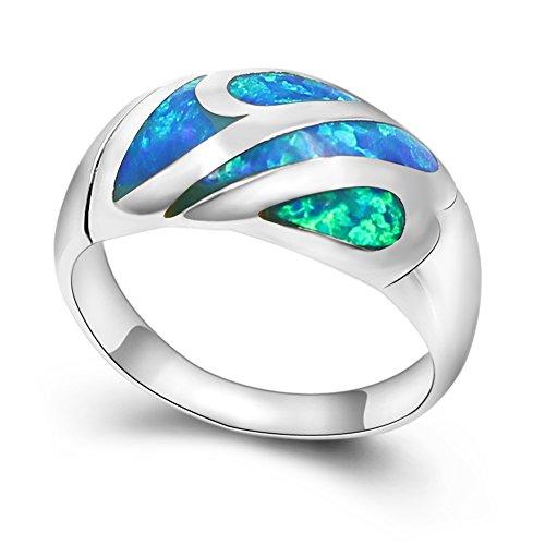 - Sinlifu Blue Opal Wedding Bands Silver Plated Ring