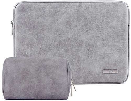 Designer Sleeves 14' Pc - 14 Inch PU Leather Padded Laptop Sleeve BLOOMSTAR Frosted Protective Notebook Bag Computer Case Cover for MacBook Pro MacBook Air Chromebook Acer Dell HP Samsung Sony + Cable Bag (Gray)
