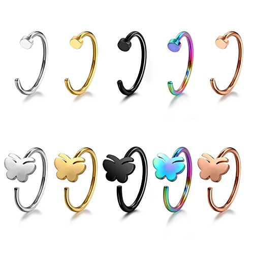 Butterfly Nose Rings - Jewelrieshop 20G 10 Pcs Stainless Steel Nose Ring Hoop & Earring C-Shape Piercing Body Jewelry Set - (Butterfly)