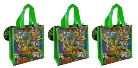 [Teenage Mutant Ninja Turtles Mini Tote Bag X 3] (Nickelodeon Teenage Mutant Ninja Turtles Treat Bags)