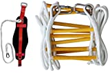 ISOP Emergency Fire Escape Rope ladder 3 - 5 Story Homes 32 ft Flame Resistant Fire Safety Ladders with Hooks & Safety Belt – Fast Deploy & Simple To Use – Portable, Compact & Easy to Store- Reusable