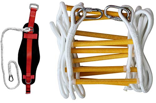 Ladder Rescue - Emergency Fire Escape Rope ladder 3 Story 4 story Homes 32 Feet Flame Resistant Fire Safety Ladders with Hooks & Safety Belt – Fast Deploy & Simple To Use – Portable, Compact & Easy to Store Reusable