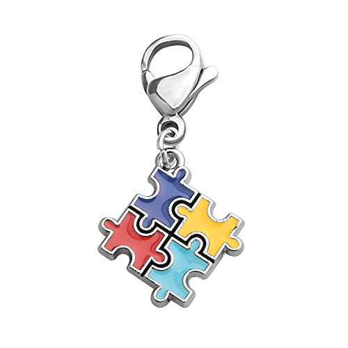 (CHOROY Autism Puzzle Piece Necklace with Hope Ribbon Charm Asperger Awareness Jewelry Gift for Autism Mom/Autism Teacher/Autistic Girl (Autism Puzzle Piece Zipper Pull))