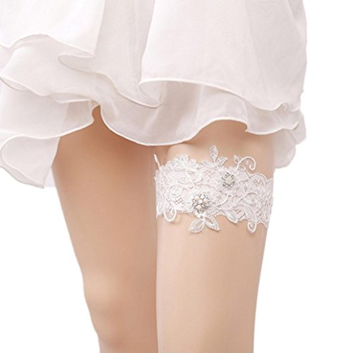 Hot Sale! Napoo Women Classic Lace Elastic Butterfly Garter Bride Dress Ribbon for Wedding (B)