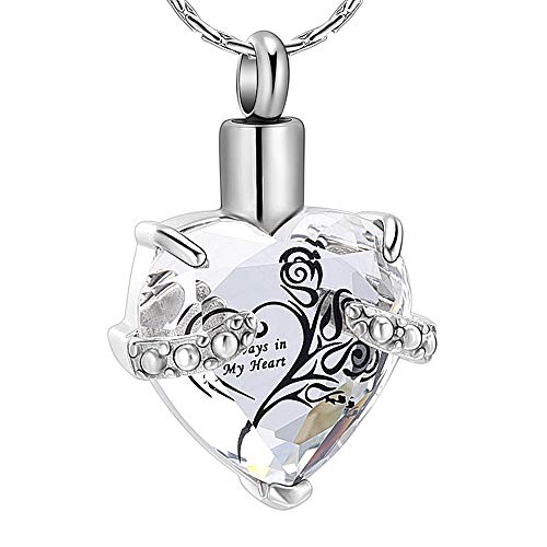 constantlife Crystal Heart Shape Cremation Jewelry Memorial Urn Necklace for Ashes, Stainless Steel Ash Holder Pendant Keepsake with Gift Box Charms Accessories for Women