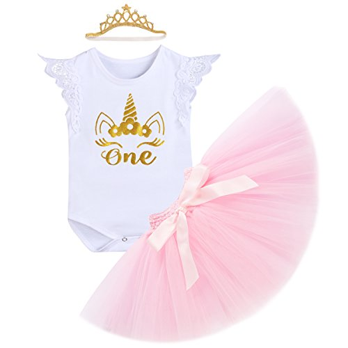 OBEEII Baby Girl First Birthday Unicorn Romper Tutu Skirt Headband Outfits Cake Smash Party 6-12 Months -