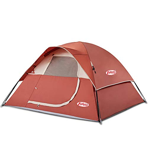 TOMOUNT 3 Person Tent - Easy & Quick Setup Camping Tent, Professional Waterproof & Windproof Fabric, 3 Large Mesh for Ventilation, Double Layer, Anti-UV, Lightweight & Portable with Carry Bag (3-red)