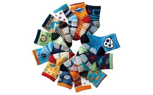 ONE SIZE Baby Infant Toddler Cotton Socks Packs of 12 PIRATES BUGS CARS Age 6 9 12 18 24 Months ANTI SLIP