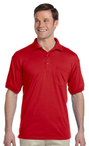 Gildan Mens 5.6 oz. DryBlend 50/50 Jersey Polo with Pocket G890 -RED (5.6 Ounce Polyester Moisture)
