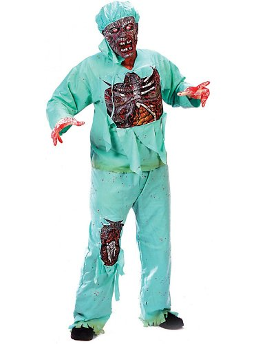 FunWorld Men's  Zombie Doctor, Light Green, One Size (Zombie Costume Mens)
