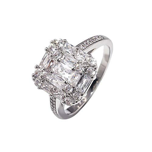 POtluck Fashion Rings,Personalized Metal Full Diamond Microinlaid Zircon Female Ring Jewelry Gift ()