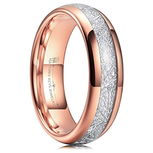 (Three Keys 6mm Tungsten Wedding Ring for Men Domed Imitated Meteorite Inlay Polished Rose Gold Mens Meteorite Wedding Band Engagement Ring Promise Ring Size)