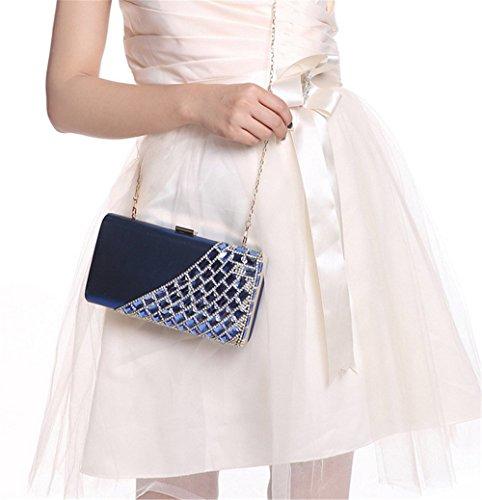 ISHOW, acrílico satinado noche cluthes bolsos Monederos boda Party Azul