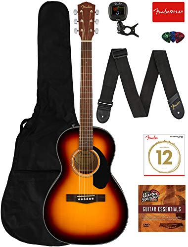 Fender CP-60S Solid Top Parlor Size Acoustic Guitar Bundle with Gig Bag, Tuner, Strap, Strings, Picks, Fender Play Online Lessons, and Austin Bazaar Instructional DVD – Sunburst 41mYCclm vL