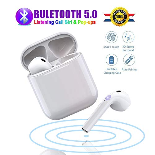 Wireless Earbuds Bluetooth 5.0 in-Ear Wireless Headphones 24 Hour Playtime 3D Stereo IPX5 waterproof Sports Headset,for Android iOS Samsung iPhone Apple of Airpod and Airpods