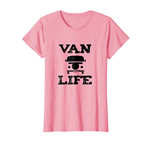 Womens Van Life T Shirt for Lovers of the Classic Hippie Van Life Small Pink