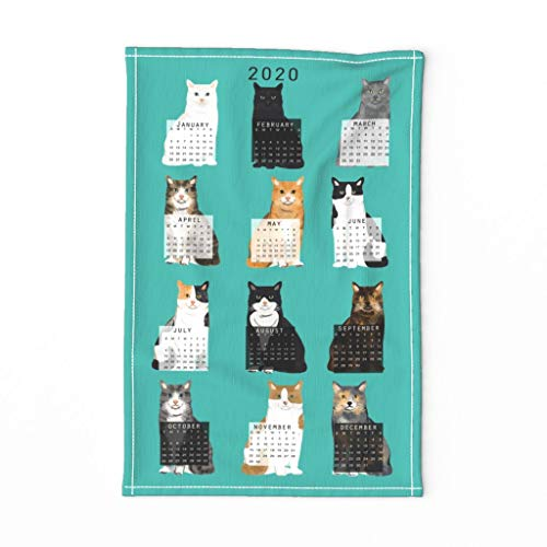 Roostery Spoonflower Tea Towel 2020 Cat Calendar Cat Lover Gift Blue Linen Cotton