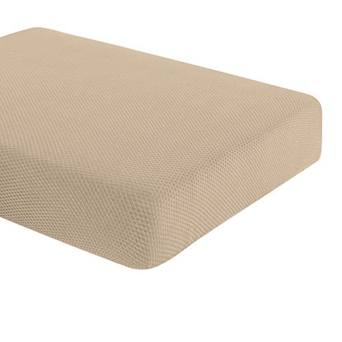 DyFun Knit Couch Cushion Cover Stretch Polyester Spandex Cushion Slipcover Furniture Protector (Chair Cushion, Beige) (Couch Covers Cushion Individual)