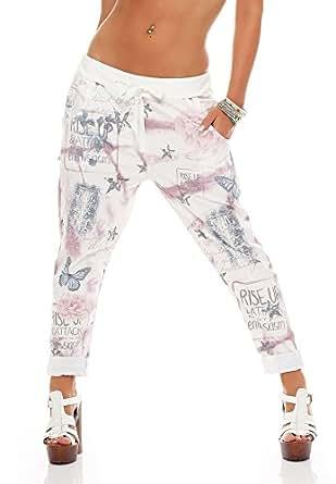 zarmexx Mujer Baggy-Pantalón Boyfriend Pantalones Harén Pantalones Pantalones de deporte con flor impresión algodón One Size Flieder Einheitsgröße