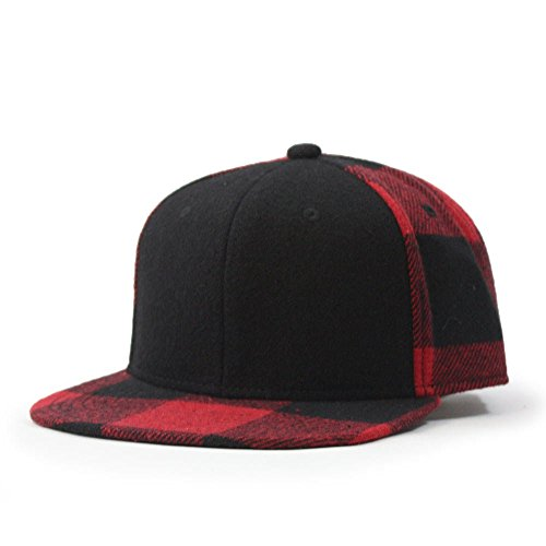 - Premium Wool Blend Plaid Adjustable Snapback Baseball Cap (Black/Red)