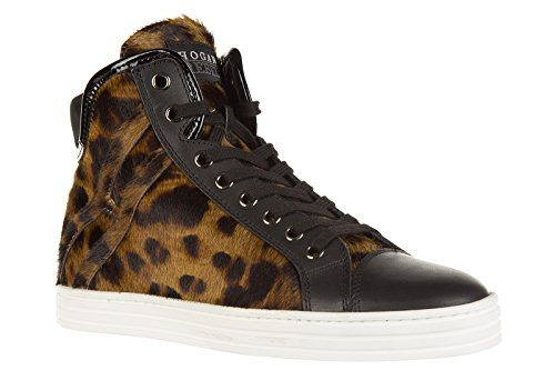 Hogan Rebel scarpe sneakers alte donna in pelle nuove r182 rebel leo marrone
