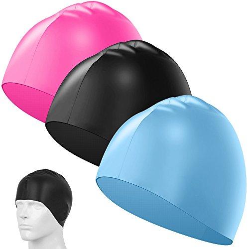 SENHAI 3 Pack Silicone Swimming Caps, Durable Elastic Long Hair Swim Caps for Kids, Women, Men - Light Blue, Rose Red, Black ()