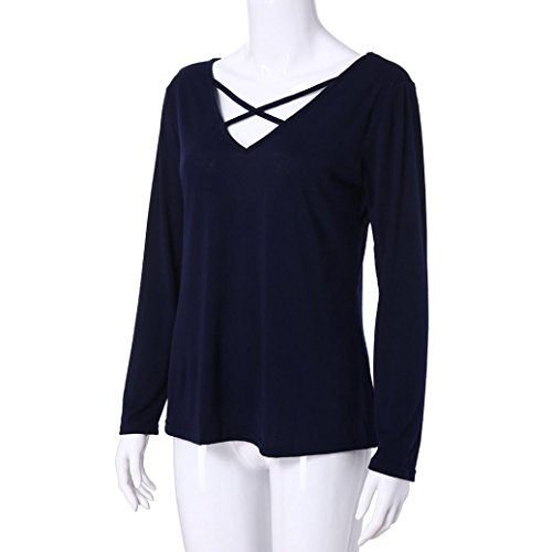 Couleur Tops Chemise Dames Fille Manches Uni Solike Shirts V Marine Casual Blouse Shirt T Col Femme Longues Pullover xw4nfZqRP