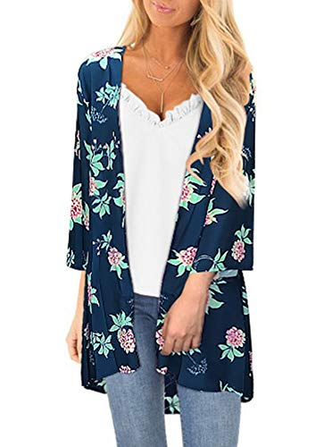 Women Floral Print Kimono Cover Up Sheer Chiffon Blouse Loose Long Cardigan Navy Blue Medium
