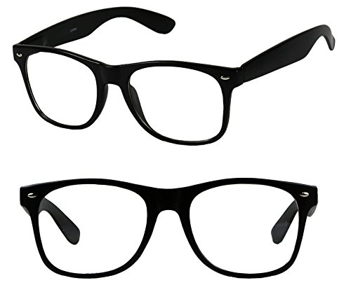 [Basik Eyewear - Clear Lens Nerd Geek 80s Style Wayfarer Retro Frame Rx Eye Glasses] (90s Era Costumes)
