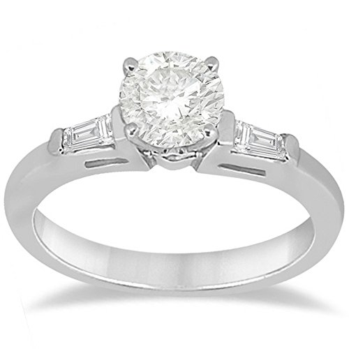 Three Stone Diamond Engagement Ring Setting with Tapered Baguettes in Palladium (0.20tcw)