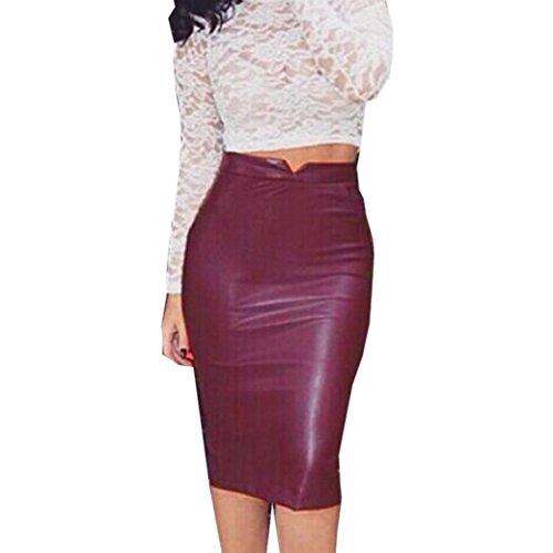 Sexy Leather Skirt,Hemlock Women High Waist Slim Dress Pencil Party Skirt (M, Red)