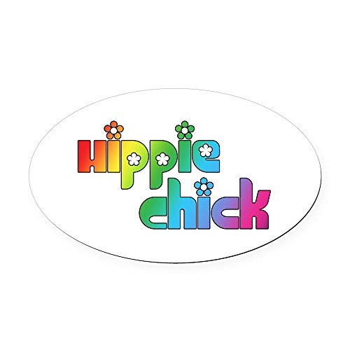 CafePress - Hippie Chick - Oval Car Magnet, Euro Oval Magnetic Bumper Sticker ()