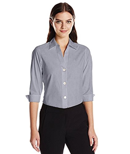 Foxcroft NYC Womens Pinpoint Oxford Shirt Non-Iron Stretch Poplin Blouse (X-Large, Silver)