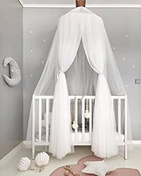 Bed Canopy Pupow Cotton Round Dome Mosquito Net Kids Reading Nook Play Tents Hanging Curtain