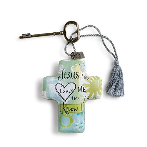 Blue Resin Cross - DEMDACO Jesus Loves Me Aqua Blue 4 x 3 Cross Shaped Resin Keepsake Decoration