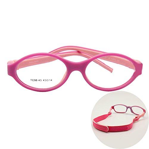 EnzoDate Boys Glasses Frame Size 43/14 Silicone TR90 Double Layers, No Screw Safe Flexible Girls Eyeglasses, Bendable KIds Eyeglasses (rose/pink)