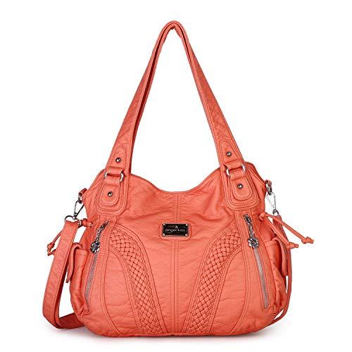 - Angelkiss Women Top Handle Satchel Handbags Shoulder Bag Messenger Tote Washed Leather Purses Bag (Coral) ...