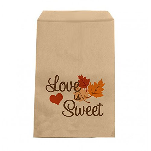 Love is Sweet - Fall Candy Bags - Wedding Favor Bags - Engagement Party, Bridal Shower Autumn Leaves Treat Bags - 6.25