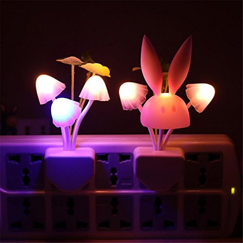 Price comparison product image Night-Light Smart Light Sensor Changeable Color Lamp Wall Lamp LED Mushroom Rabbit US Plug / EU Plug 110V-220V Bedroom