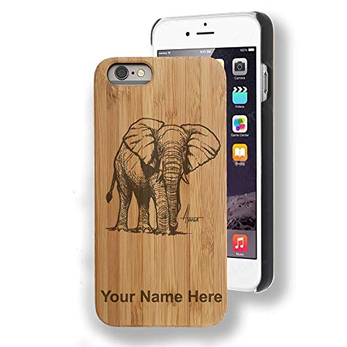 (Bamboo case Compatible with iPhone 7 and iPhone 8, African Elephant, Personalized Engraving Included)