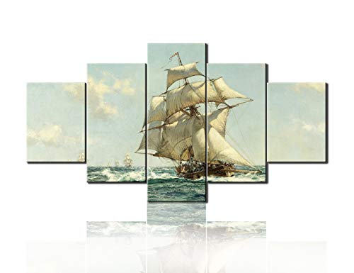 """(TUMOVO 5 Panel Wall Art Ancient Sailboat Pictures on Canvas Vintage Pirate Ship Paintings HD Prints Landscape Artwork Living Room House Decorations Framed Gallery-Wrapped Ready to Hang Gift(60""""X32""""))"""
