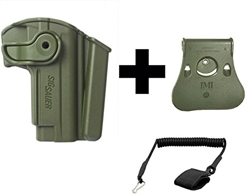 IMI Defense Z1280 Sig Sauer Mosquito 360° Rotate Holster with Integrated Mag Pouch Right Hand, OD Green + Paddle Roto Attachment + Ultimate Arms Gear Coiled Pistol Lanyard