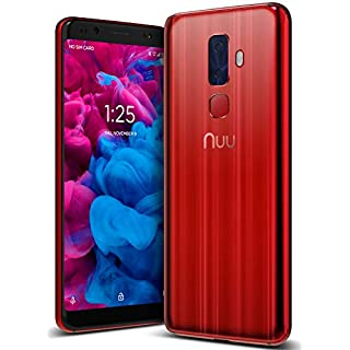 """NUU Mobile G3 Unlocked Cell Phone 64GB + 4GB RAM - 5.7"""" Android Smartphone - Ruby Red"""