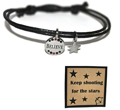 Stainless steel believe and star charm adjustable sliding knot waxed cord bracelet and note card