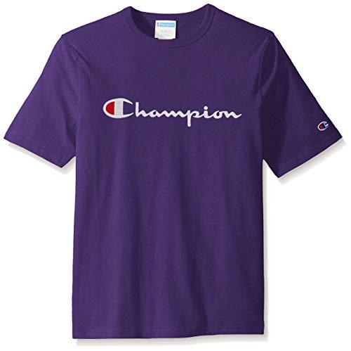 Champion LIFE Men's Heritage Tee, CHP Script Embroidery/Purple, Medium