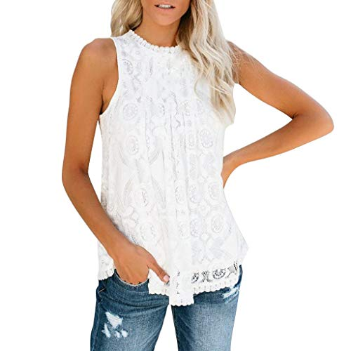 CHAELAKES Women Lace Tops Summer Casual Sleeveless O Neck Pleated Loose Hem Sexy Tank Top Blouse Shirt (XL, White)