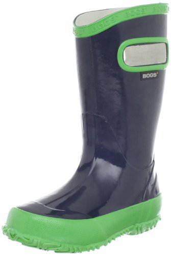 Bogs Kids Solid Rain Boot (Toddler/Little Kid/Big Kid), Navy/Green, 8 M US Toddler